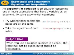 objectives solve exponential and logarithmic equations and equalities 2 an exponential
