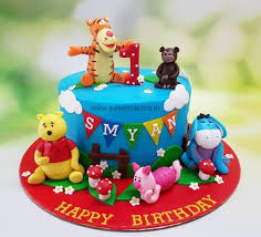 Winnie The Pooh Theme Cake With Piglet Tigger Eeyore For Boys 1st