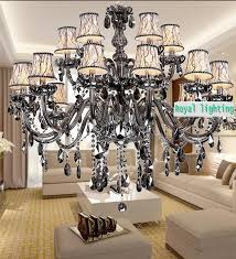 retro smoky gray crystal chandelier 2 layer 15 arms modern e14 led pendant light res de cristal living room ceiling lamp pendant lamp ceiling light