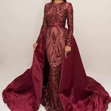 <b>Luxury Burgundy</b> Formal Evening Dresses 2018 <b>Long Sleeve</b> Zuhair ...