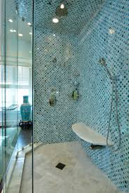 great image of blue bathroom shower decoration using light blue glass mosaic tile shower wall including mount wall white marble shower seating and corner