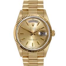 mens used day date presidents rolex watches for swiss wrist pre owned rolex mens 18k yellow gold day date president watch champagne stick dial