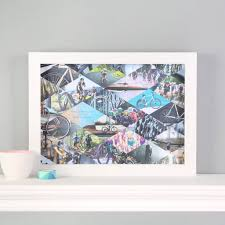 modern picture frames collage. Personalised Family Cyclists Photo Collage Framed Print Modern Picture Frames N