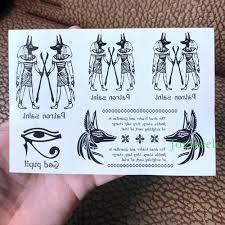 Waterproof Temporary Tattoo Sticker Ancient Egypt Myth God Anubis Star Snake Cats Totem Mens Tatto Flash Tatoo Fake Tattoos 7
