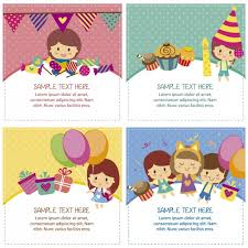 free childrens birthday cards birthday cards with cute children vector free download