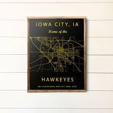 Hawkeye Football Seating Chart Iowa City Iowa Map Kinnick Stadium Sign Iowa Hawkeyes Art Print Gift For Hawkeye Fan Iowa Hawkeyes Poster Kinnick Stadium Seating Chart