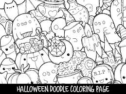 Small Picture Halloween Doodle Coloring Page Printable Cute Coloring Page