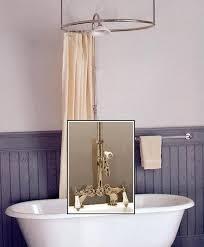 clawfoot tub deckmount round shower enclosure combo w leg tub faucet