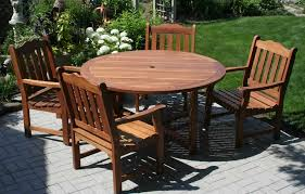 round wood patio table design