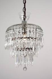 petite antique three tier crystal chandelier with glass prisms latest vintage valuable 8
