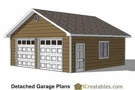 24x24 two car garage plans with single door