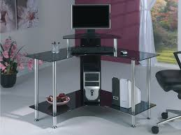 stainless steel computer table with l shaped black glass shelf and top also monitor stand placed black melamine computer desk with white antique white home office furniture simple