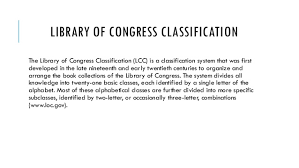 Library Of Congress Classification System Chart Library Of Congress Classification System
