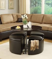 image of coffee table with ottomans underneath round