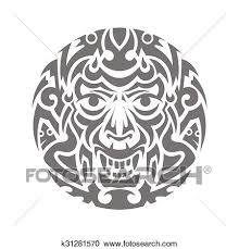 Evil Face Tribal Tattoo Ornament Vector Clipart