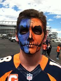 denver broncos skull face painting for the big game