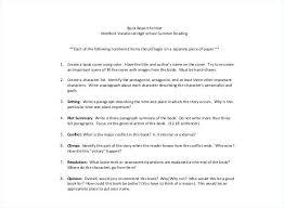 Standard High School Book Report Middle Summer Assignment