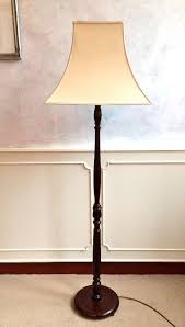 antique style bhs dark oak wooden floor standing standard lamp lampstand only