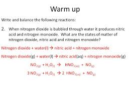 warm up write and balance the following reactions