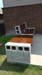 Cinder block bench with side table
