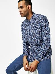 Buy Indigo Nation Blue Floral Printed Casual Shirt For Men
