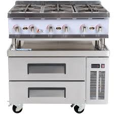 cooking performance group 36rcrbnl 6 burner gas countertop hot plate with 2 drawer refrigerated chef base