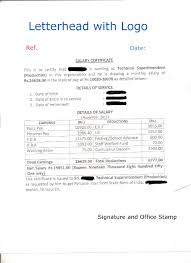 Sample Of Salary Certificate Letter Application For Issuing Salary