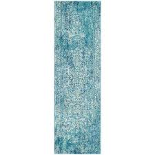 teal colored kitchen rugs runner area the home depot blue ivory compressed