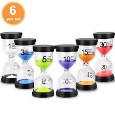 Set Timer 1 Min Emdmak Sand Timer Colorful Hourglass Sandglass Timer 1 Min 3 Mins 5 Mins 10 Mins 15 Mins 30 Mins Sand Clock Timer For Games Classroom Home Office Pack