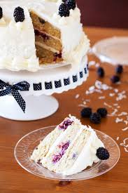 Blackberry Coconut Cake With Buttercream And Cream Cheese Icing