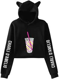 Amazon.com: Charli D'Amelio Ice Coffee Splash Cat Ear Hoodie Girl Pullover  Sweatshirt: Clothing