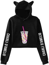 Amazon.com: Charli D'Amelio Ice Coffee Splash Cat Ear Hoodie Girl Pullover  Sweatshirt: Clothing