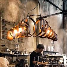 decoration retro vintage wine barrel ring pendant lights industrial lamps restaurant suspension home lighting green