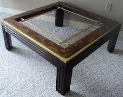 Large Square Burl Wood Brass U0026 Glass Coffee Table