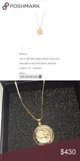 14k gold st michael pendant w 18 in