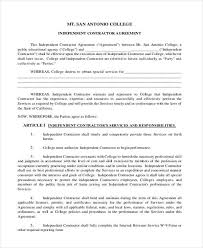 Independent Contractor Agreement Template Unique 44 Independent Contractor Agreement Form Samples Free Sample