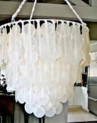 make a faux capiz chandelier