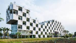 modern office building. Modern Office Building Architecture. The Facade Of Takes On A Checkerboard Pattern, Thanks