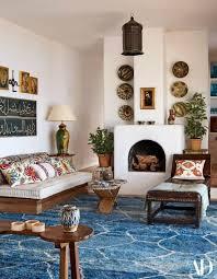 blue geometric rug moroccan rug living room of