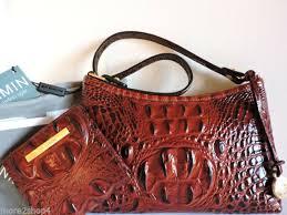 brahmin pecan anytime mini croc embossed leather bag purse