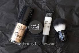 make up for ever hd plexion starter kit in hd invisible cover foundation 117 marble swatch and review