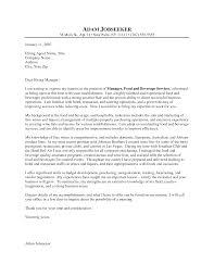 Sample Cover Letter For Hospitality Industry Cover Letter Resume Food Beverage Manager Cover Letter For