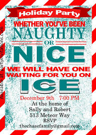 Naughty and Nice Christmas Cocktail party invitations
