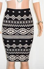 Aztec Design Skirt Super Cute Tan Black Aztec Design Midi Pencil Skirt
