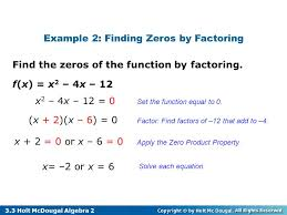 solve each equation example 2 finding zeros by factoring