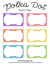 name tag template free printable free printable polka dot name tags the template can also be used