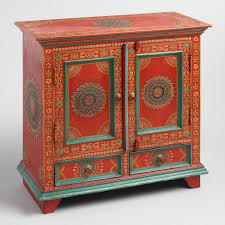 floral painted furniture. red floral painted wood cabinet furniture