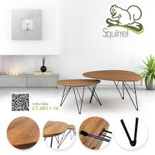 wooden triangle coffee table set 2 in 1