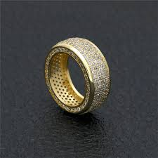 gold filled real micro pave bling cz simple design unique hip hop bling ring men iced
