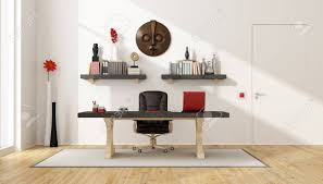 Vintage desks for home office Inspiring Ideas Home Office With Vintage Deskleather Chairshelves And Retro Objects 3d Rendering 123rfcom Home Office With Vintage Deskleather Chairshelves And Retro